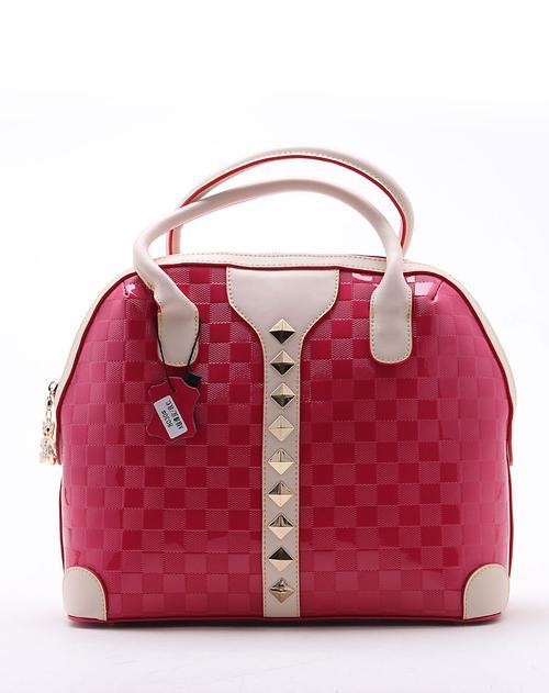 黑桃皇后 时尚方格纹玫红色半圆形手提包