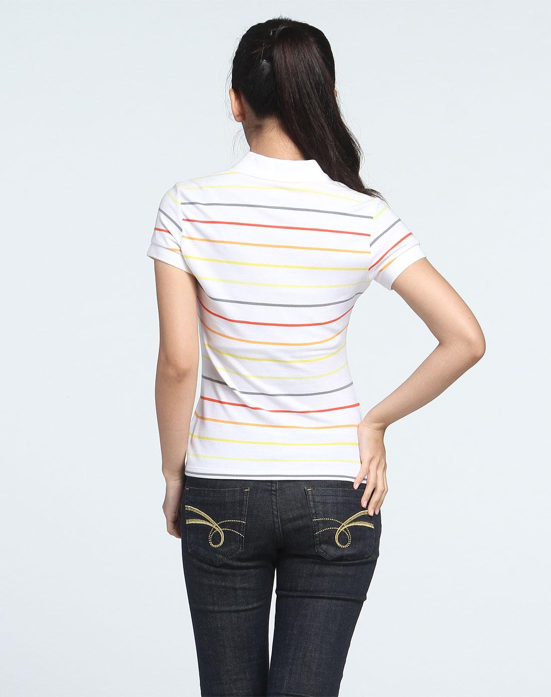 安踏 女款白/彩色短袖polo衫