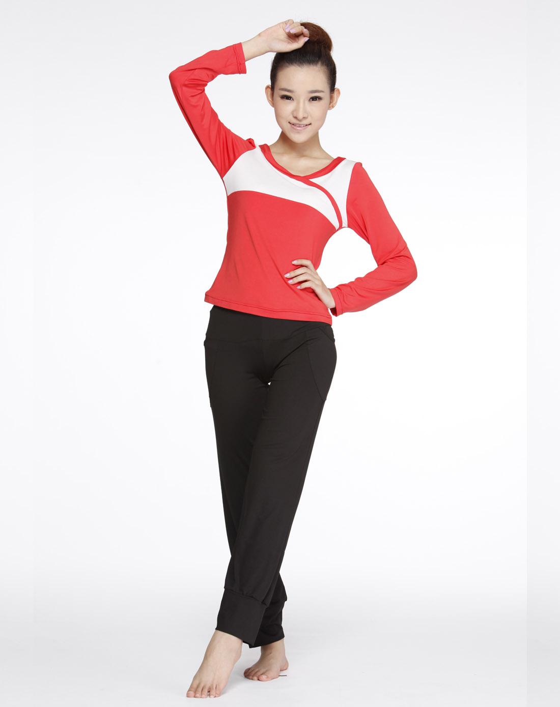瓜红_女款瓜红/白色长袖瑜伽服上衣