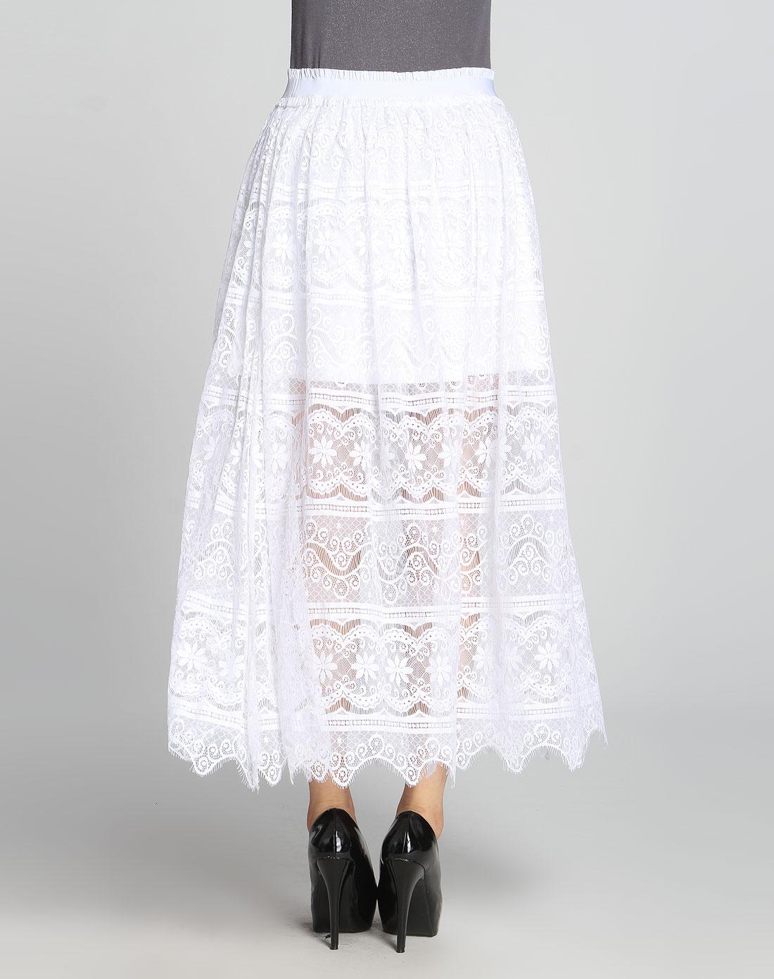 白色蕾丝甜美长裙图片