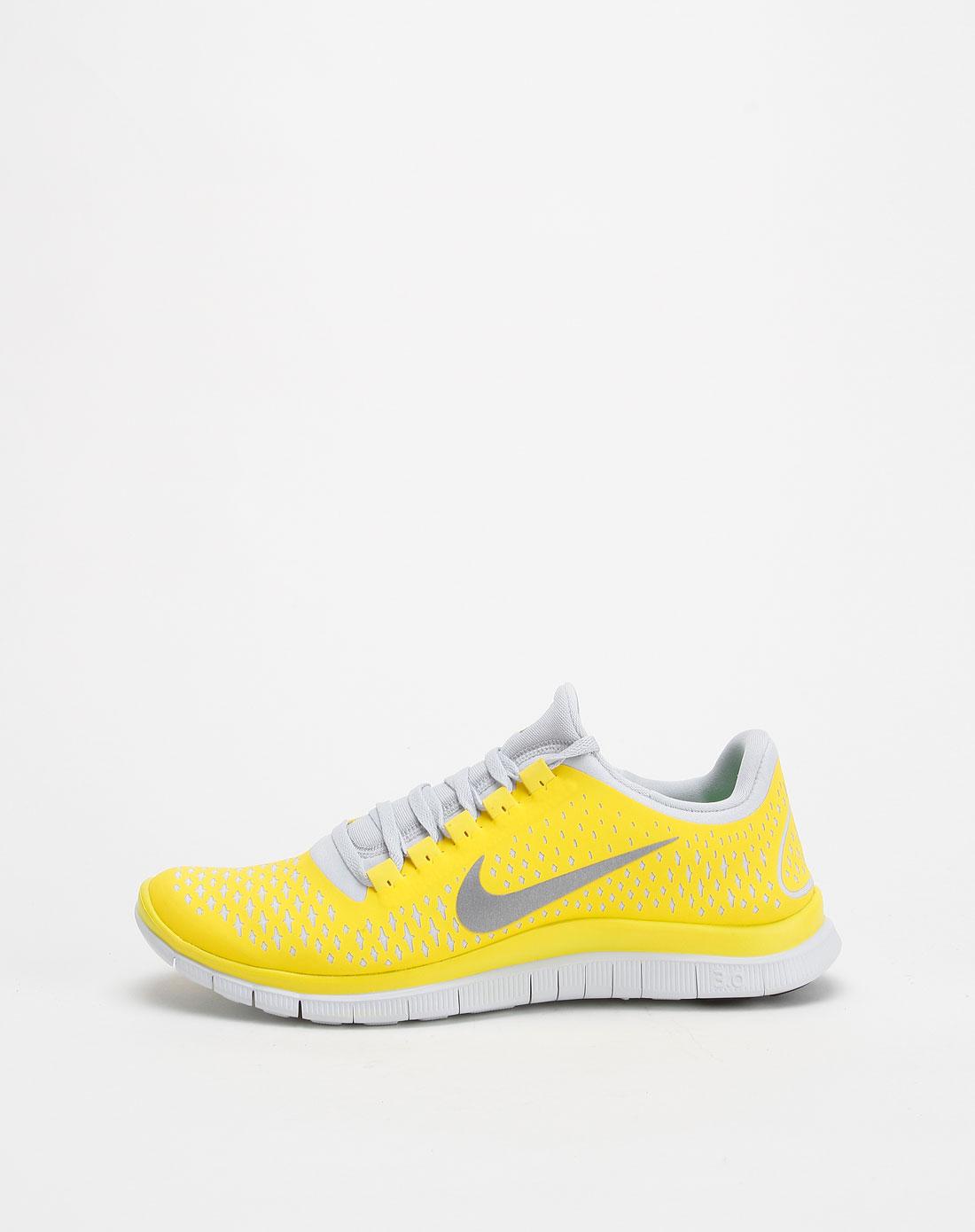 烫印星形花纹明黄银色跑步鞋