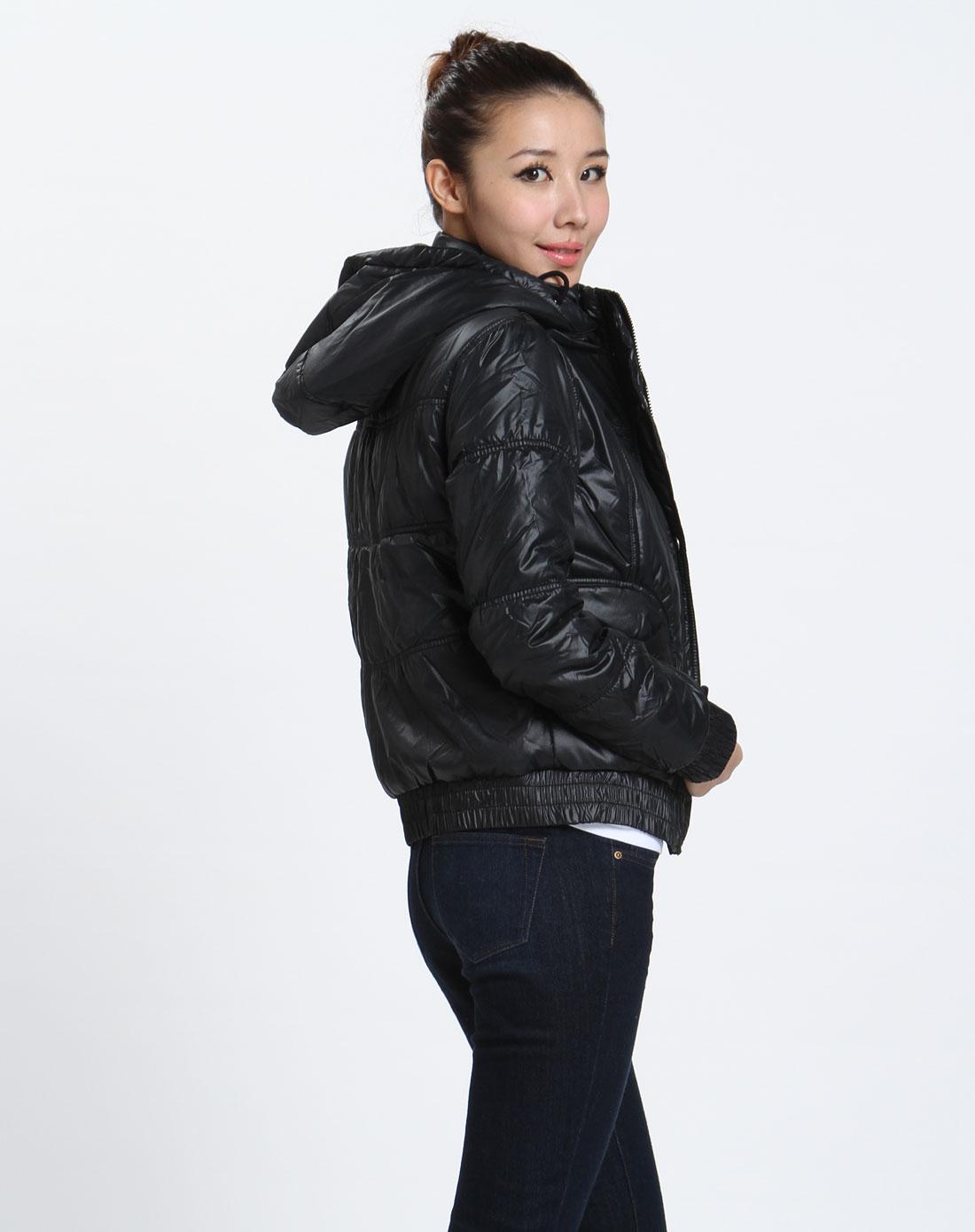 森马-女装-女款黑色连帽长袖外套图片