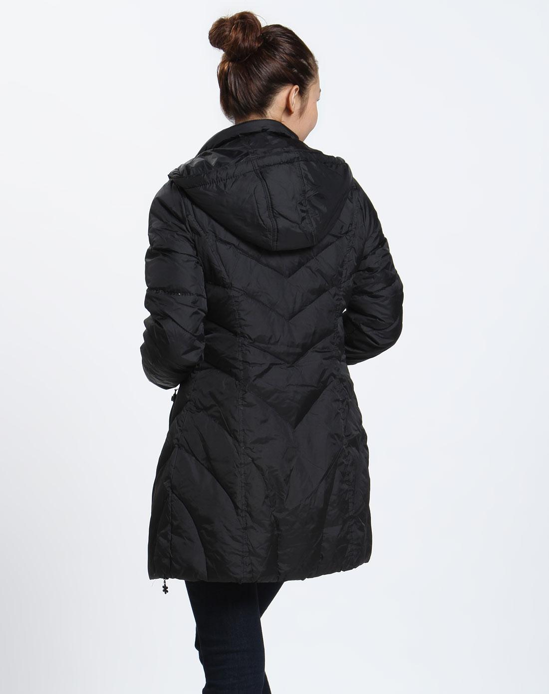 森马 女款黑色时尚长袖羽绒服图片