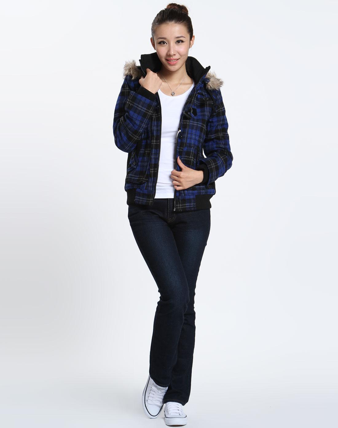 森马女装专场-女款蓝/黑色格子时尚长袖外套图片
