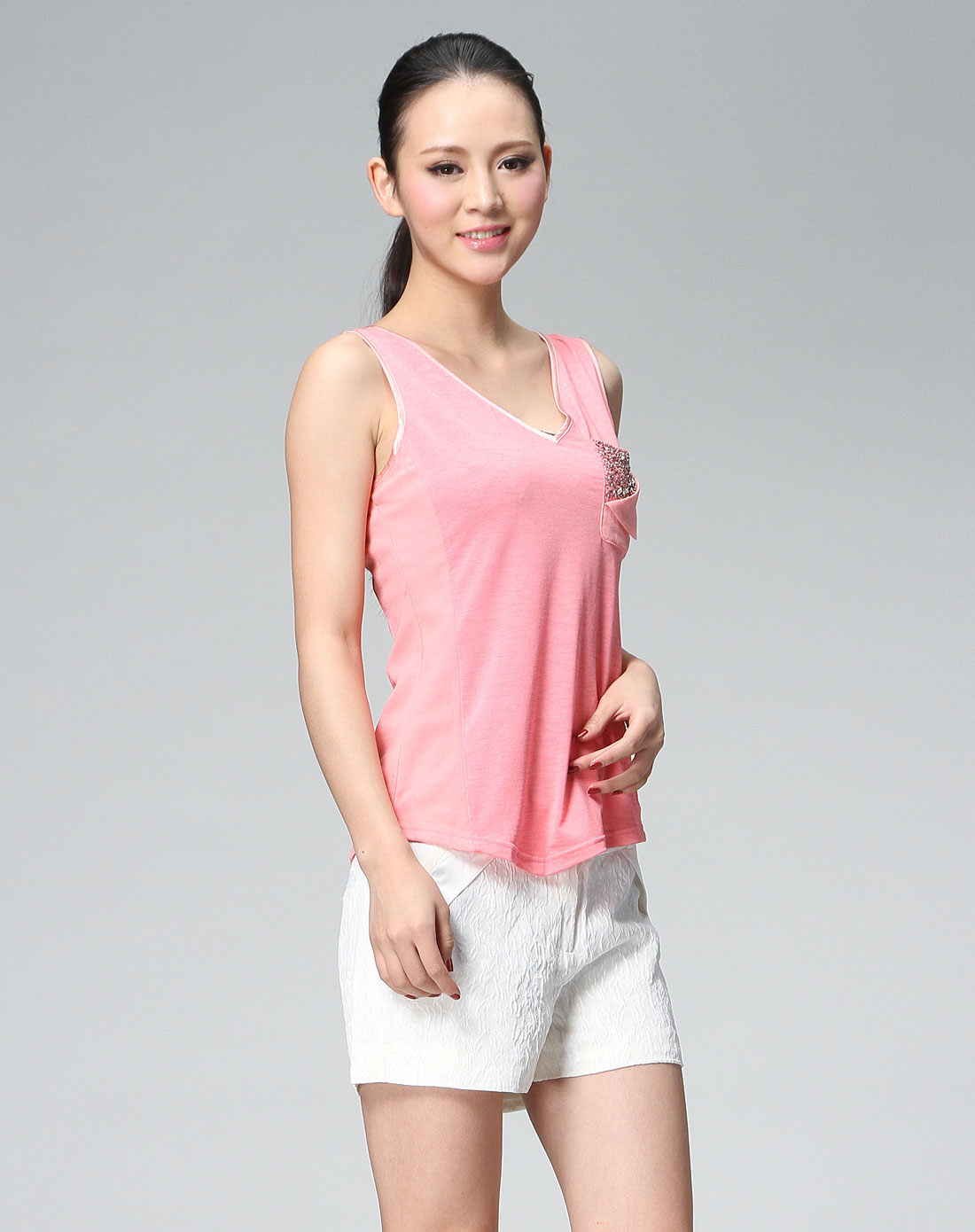shine粉红色拼接时尚针织背心sfg2bx261r02
