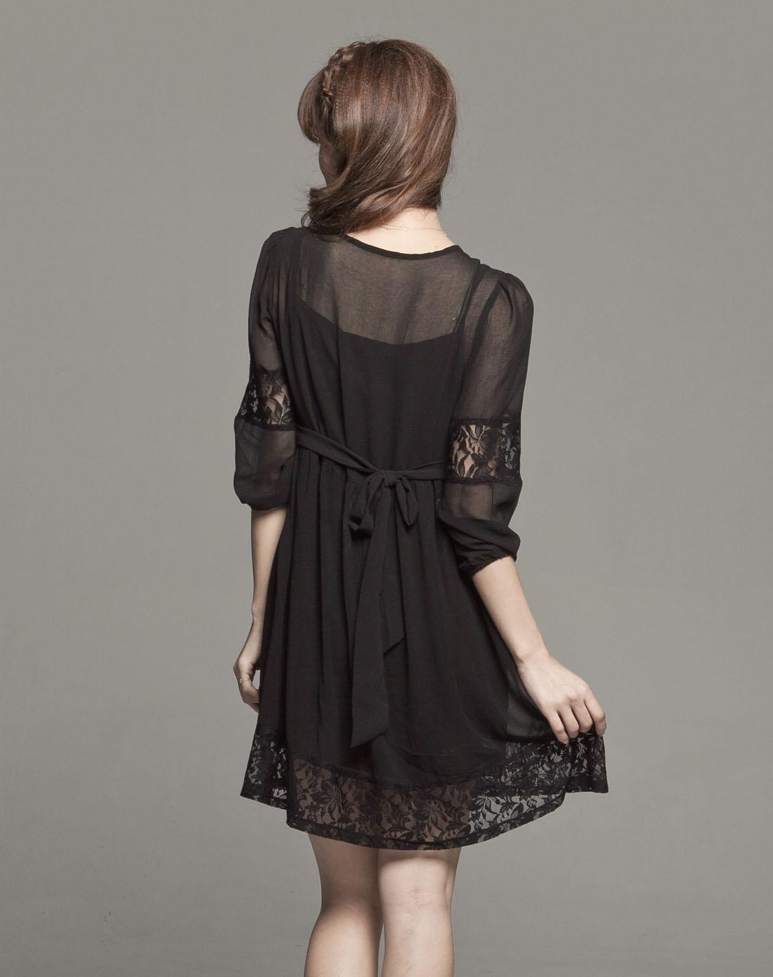 黑色蕾丝雪纺七分袖连身裙图片