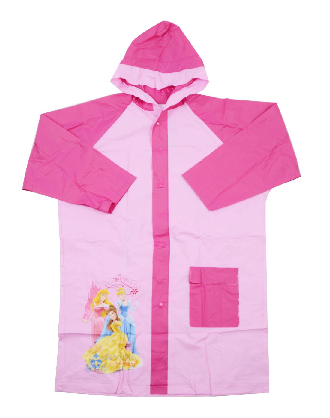 迪士尼disney儿童用品专场女童公主卡通粉红色雨衣 袋