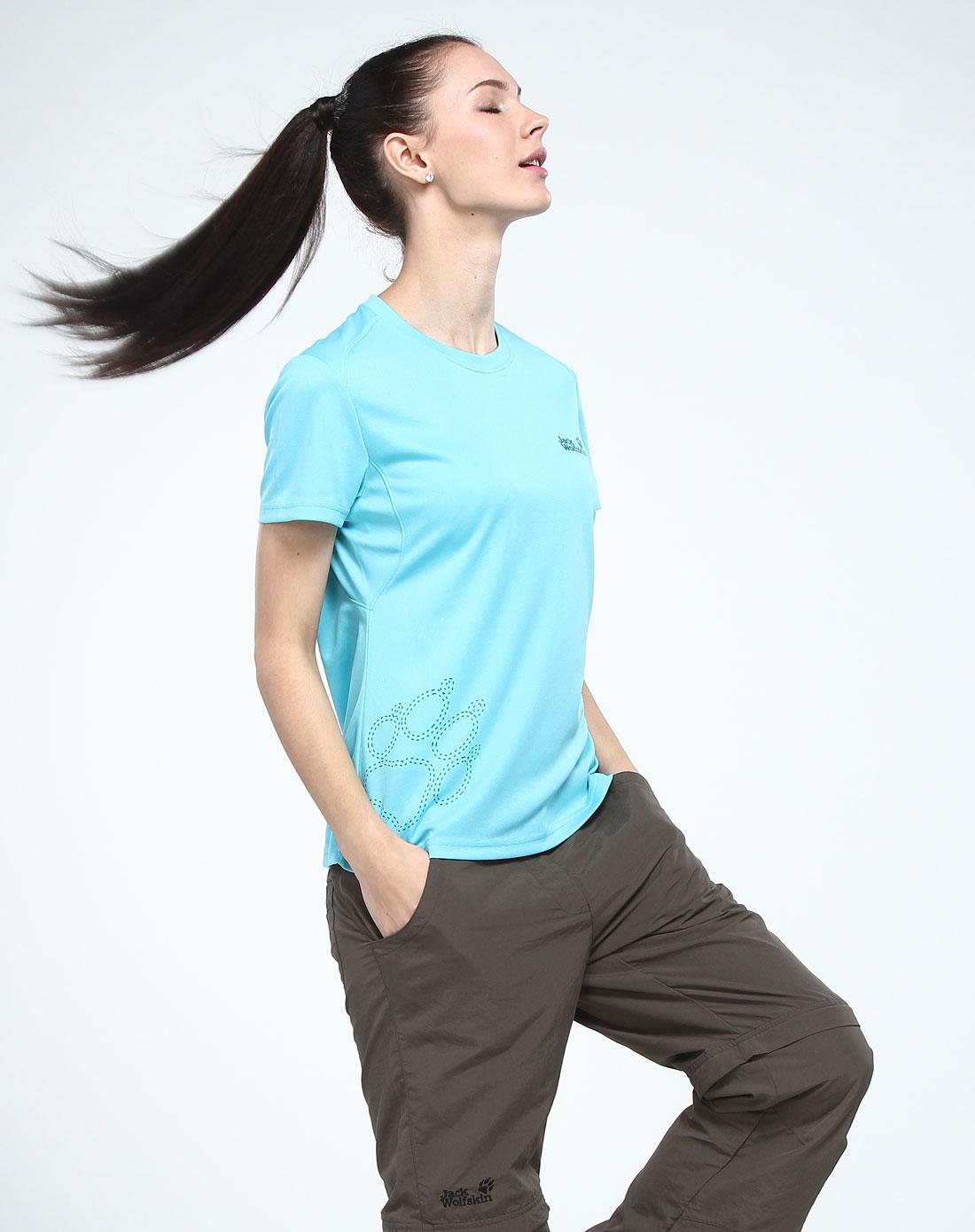 女款湖蓝色运动舒适短袖t恤衫