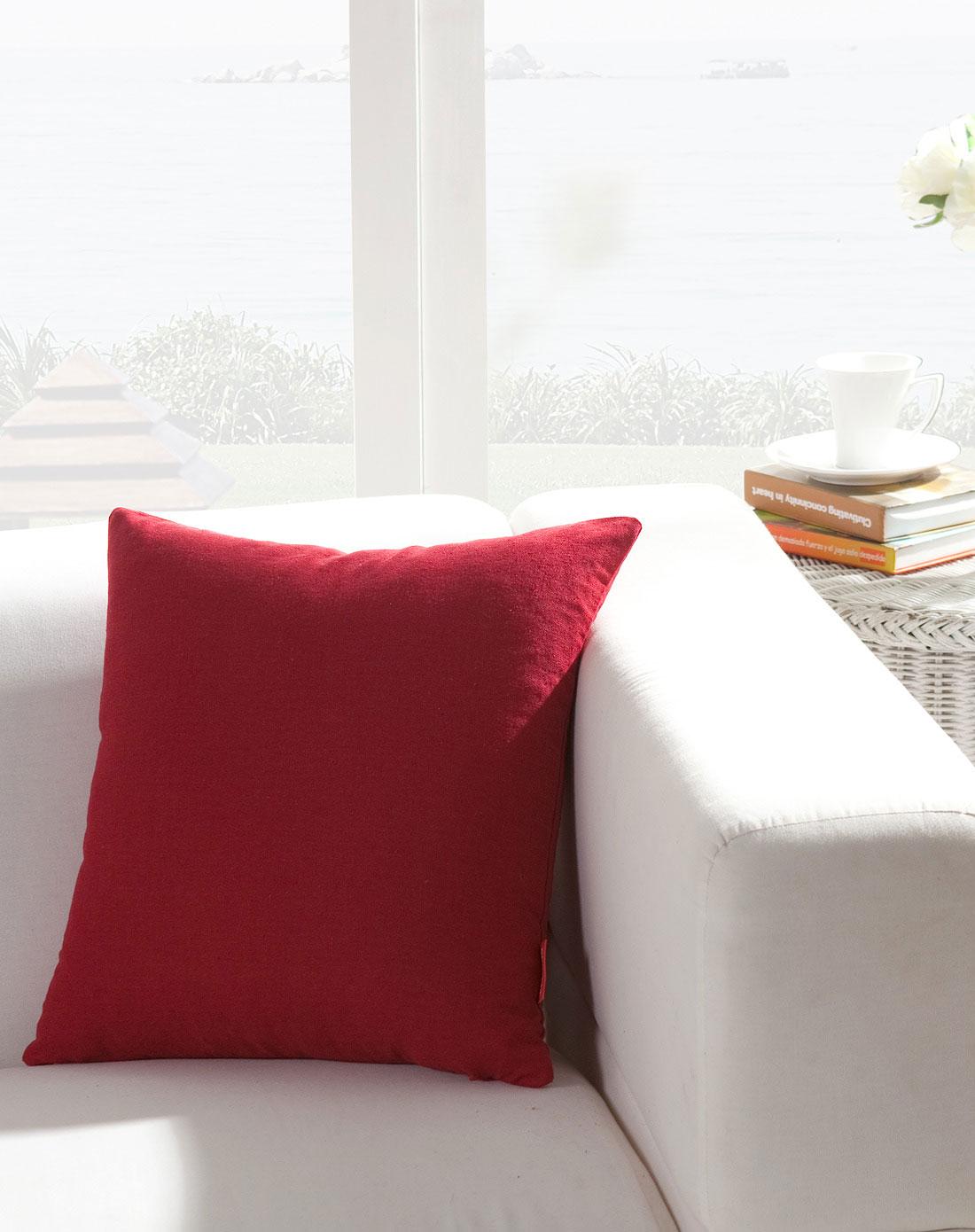 深红色糖果季棉麻靠垫/抱枕