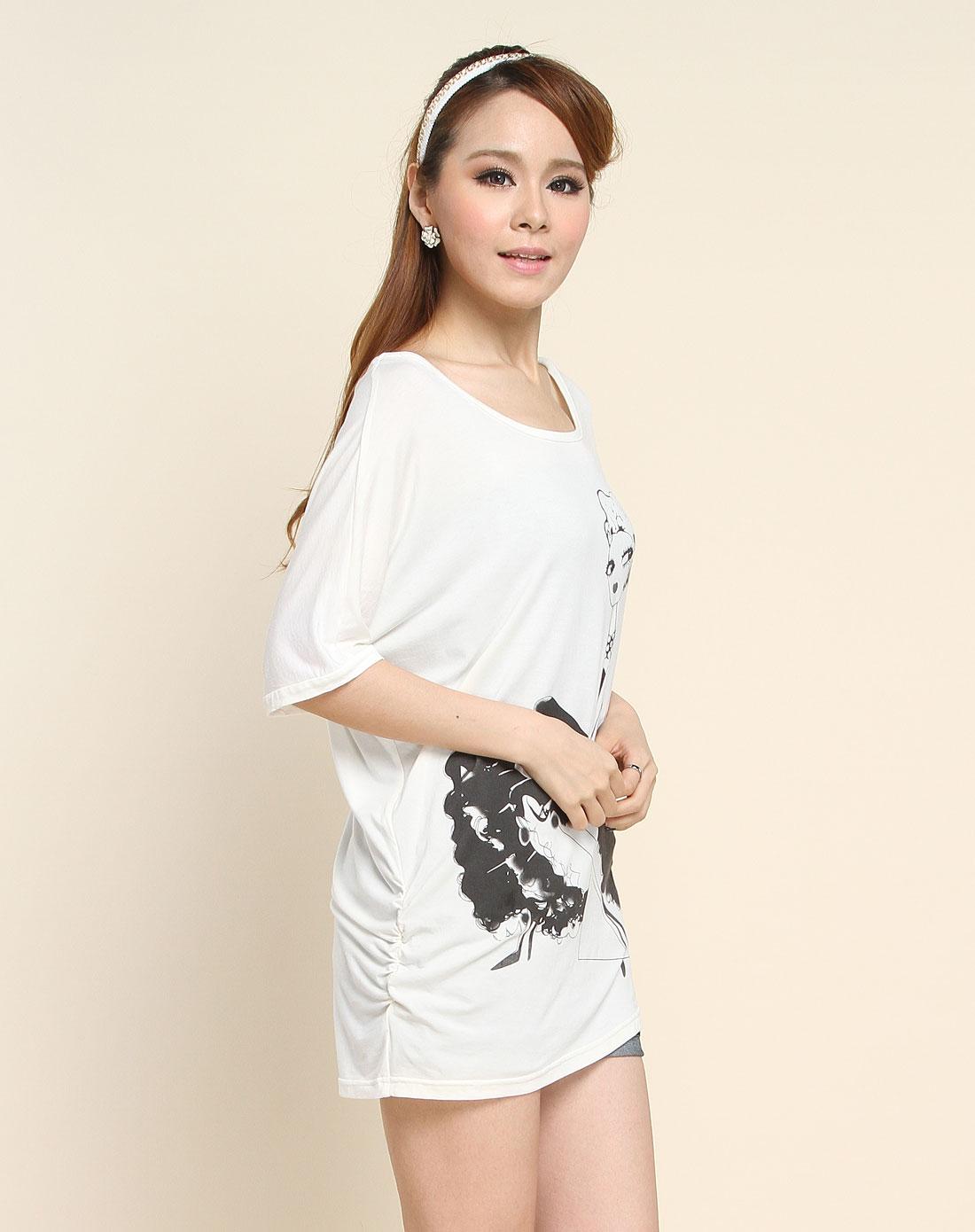 可爱人像印花米白色针织短袖t恤