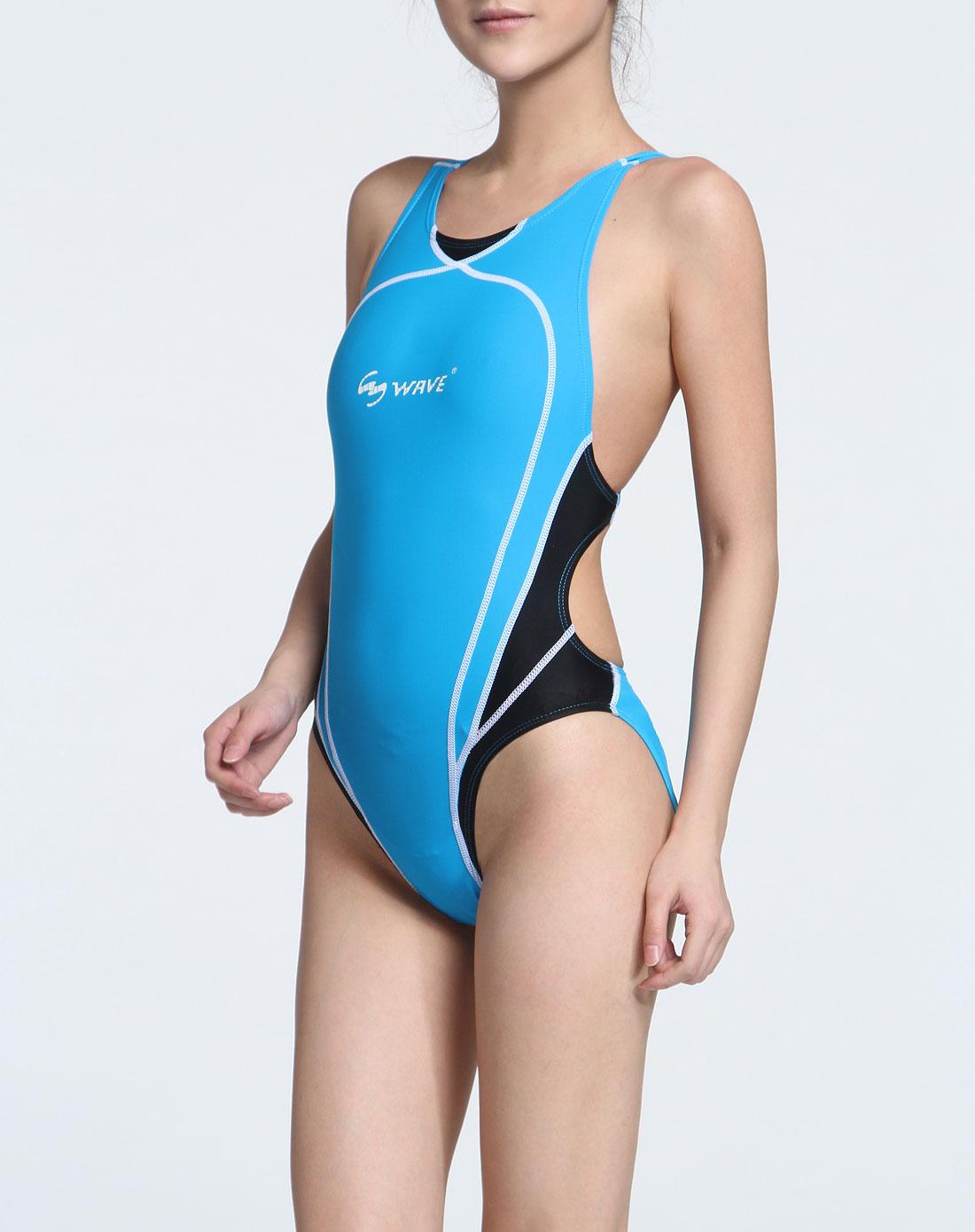 海浪 女款蓝色贴身弹力连体游泳衣