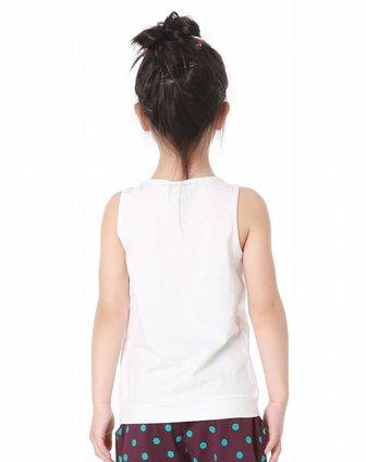 latin男女童女童搭配个性胸花白色背心