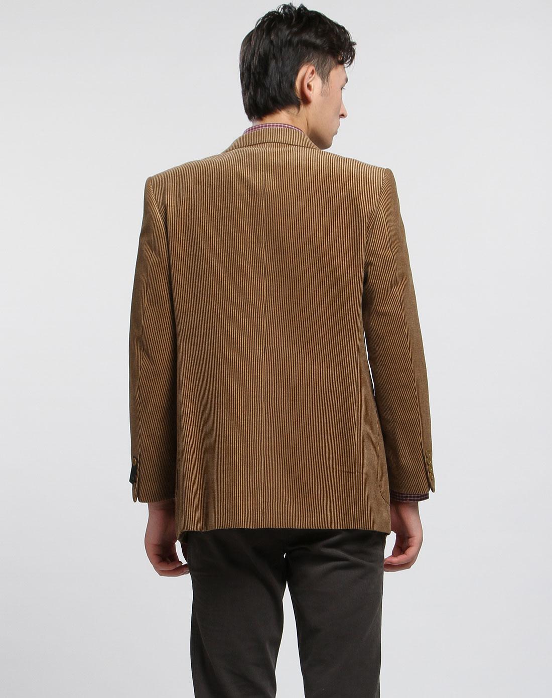 男款咖啡色竖条纹长袖西服上衣
