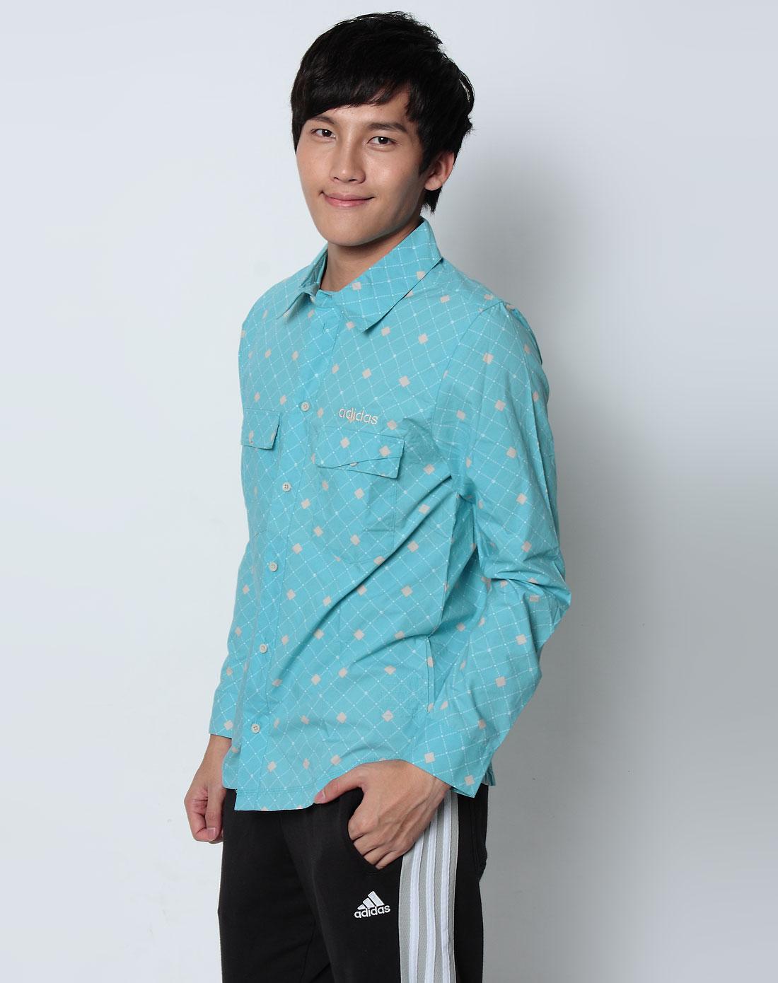 男款青色长袖衬衫