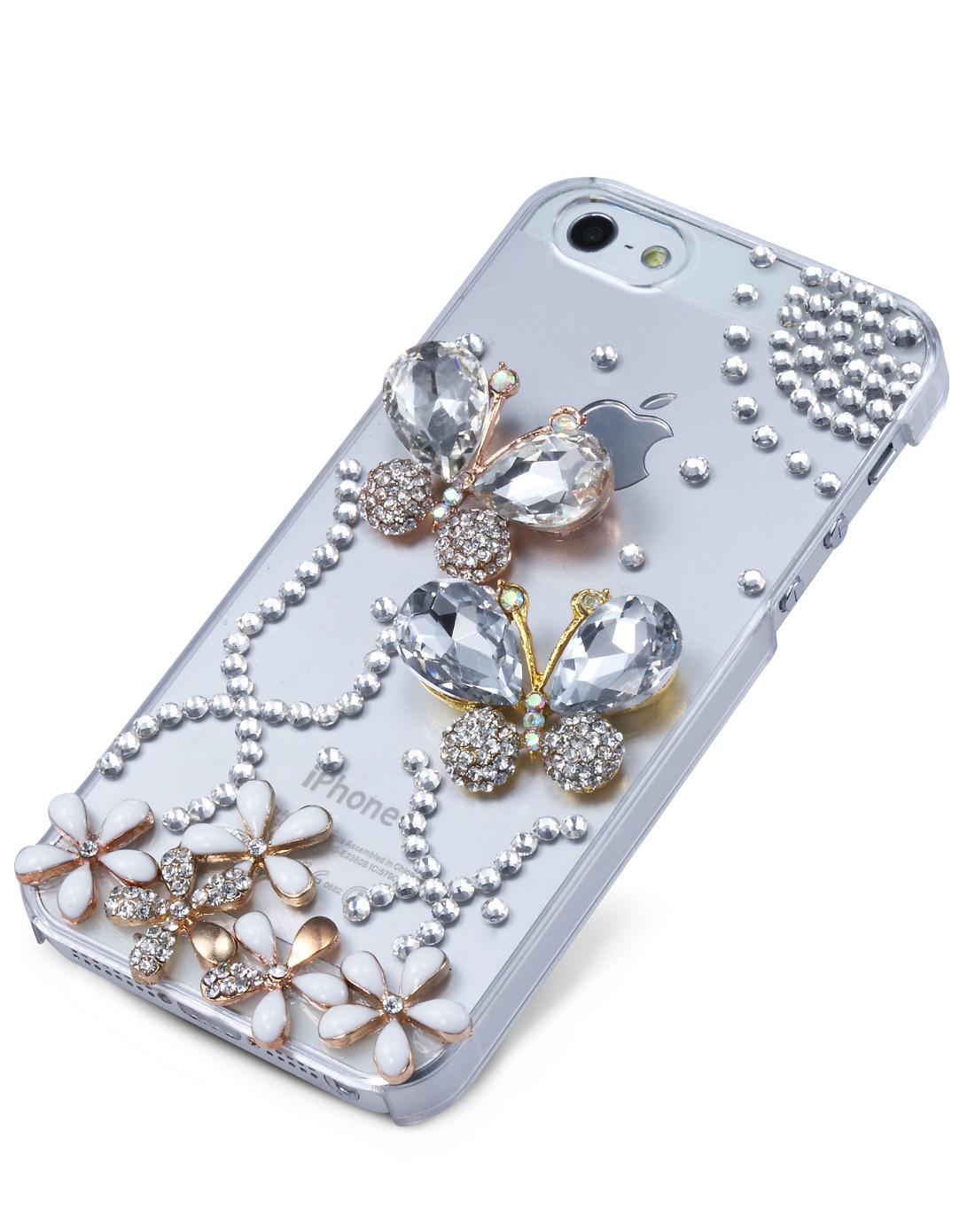 麦利多 iphone5 蝴蝶花圈水钻手机壳 白色