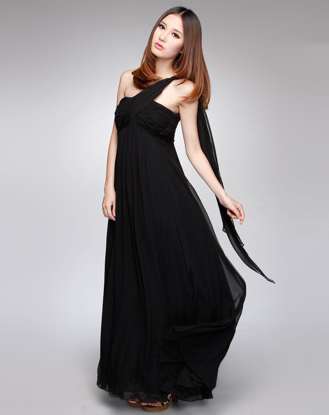 女款黑色皱褶纹时尚吊带连衣裙