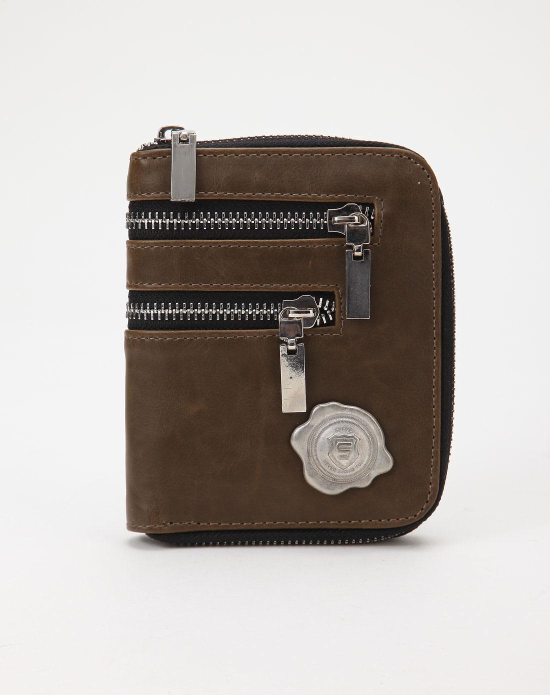 个性拉链设计深棕色钱包