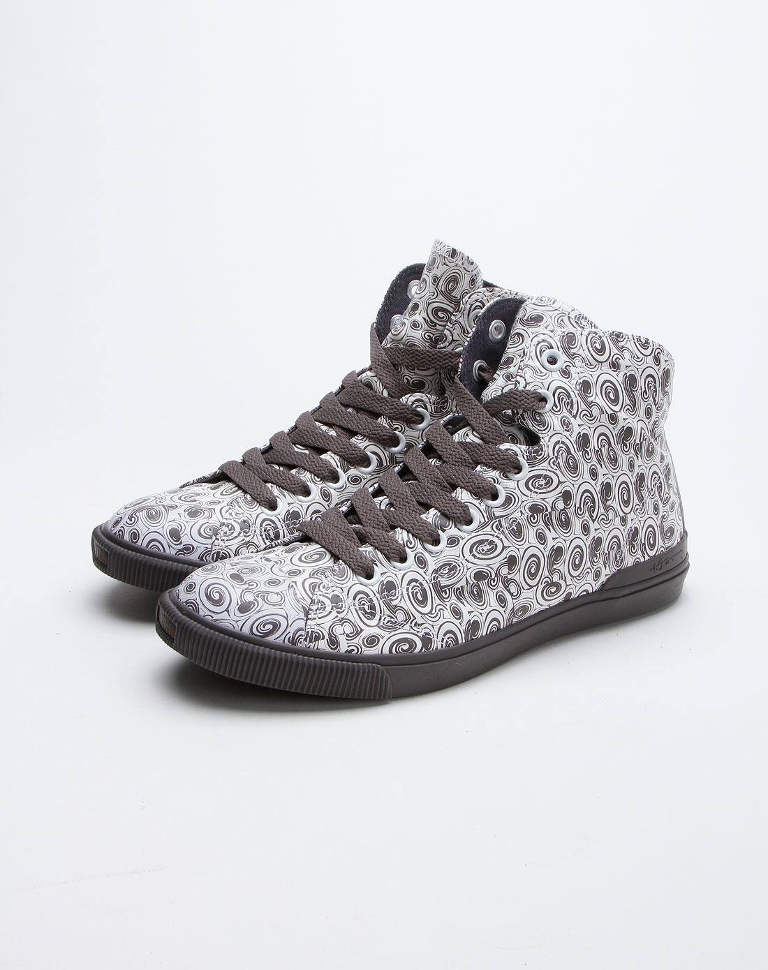 灰色高帮印花牛面皮鞋