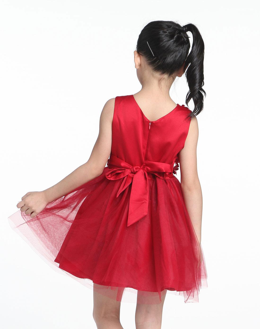 女中童可爱公主装贴花暗红色无袖连衣裙
