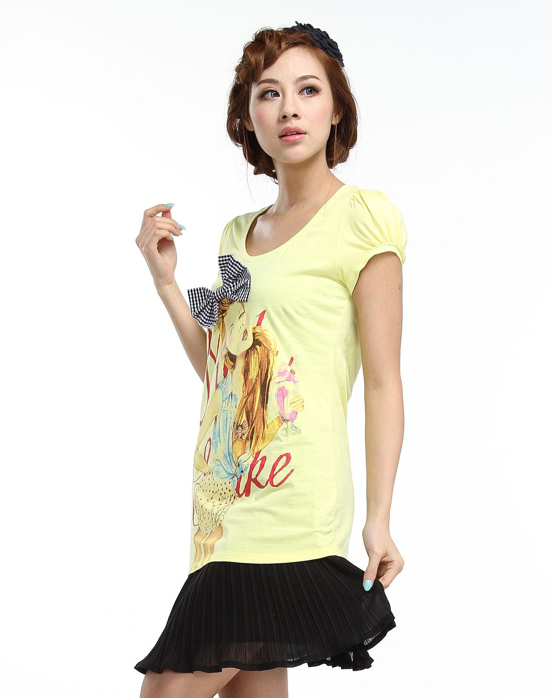 手绘可爱少女黄色短袖t恤