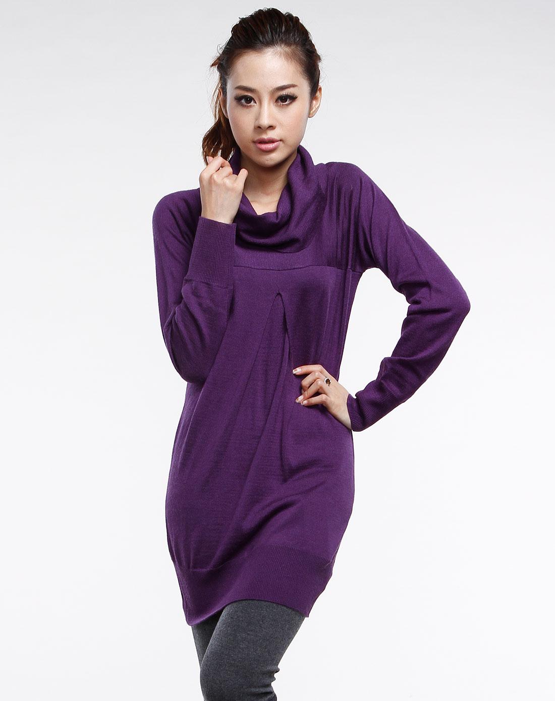 深紫色高领休闲长袖毛衣