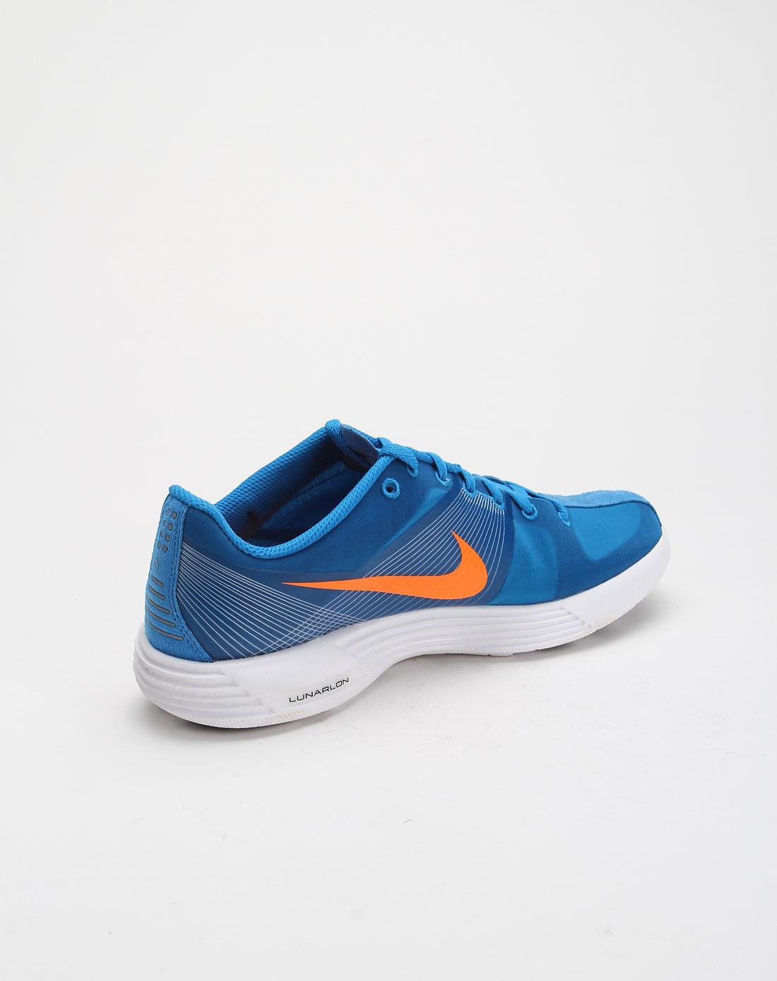 耐克nike-男鞋专场-男款线纹拼接logo白底蓝色低帮跑步鞋