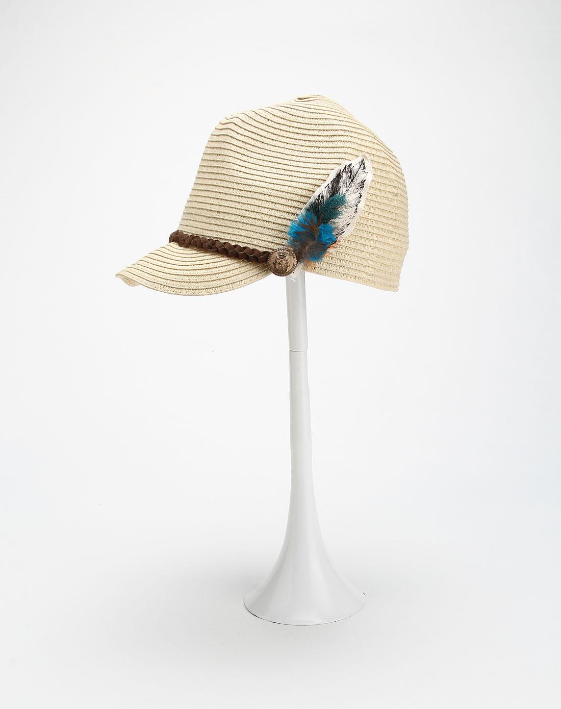 时尚羽毛卡其色编织帽子
