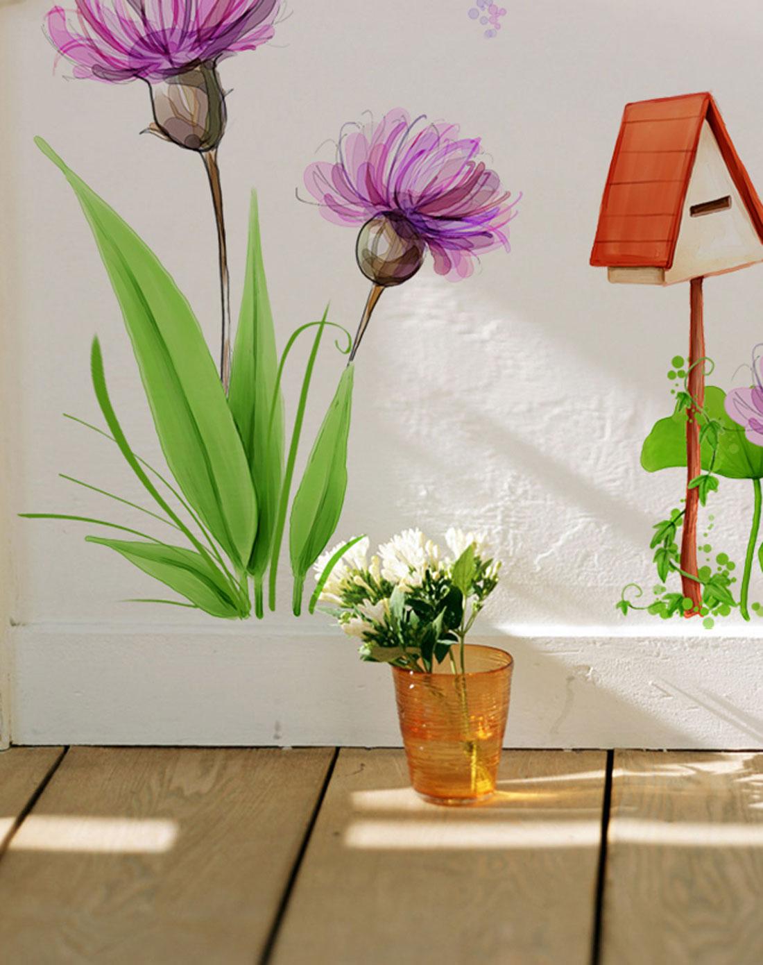 2只装可爱儿童房墙贴-女孩与花