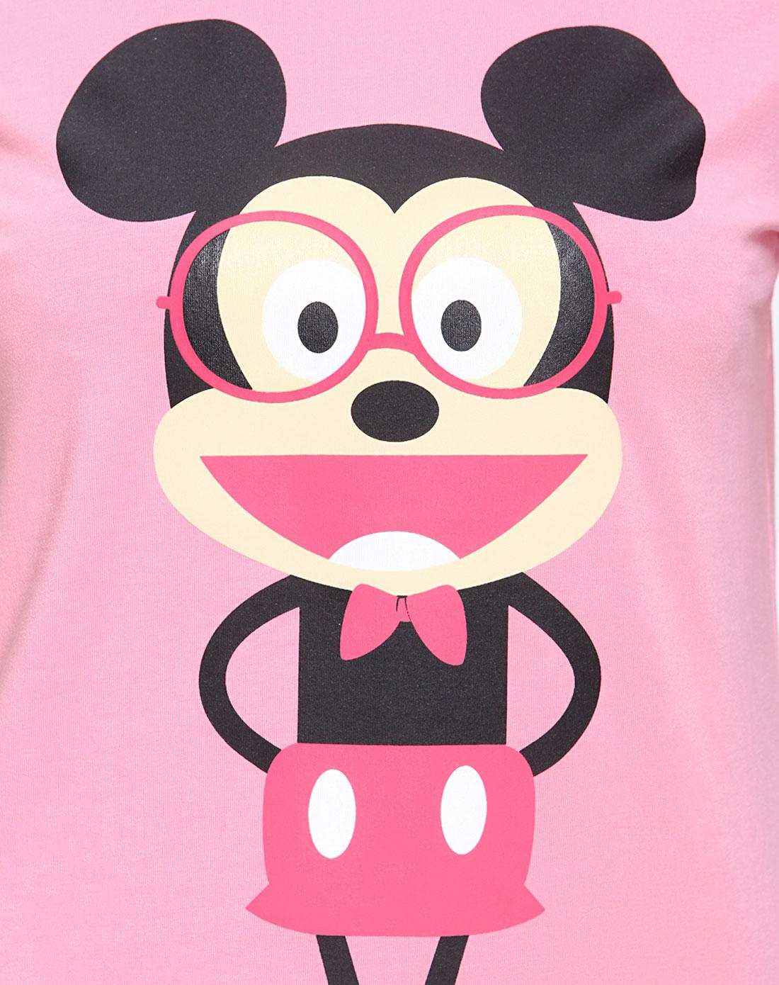 桃红色眼镜爆笑可爱米奇短袖t恤