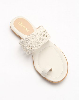 达芙妮daphne编织条纹白色凉鞋1013303022101