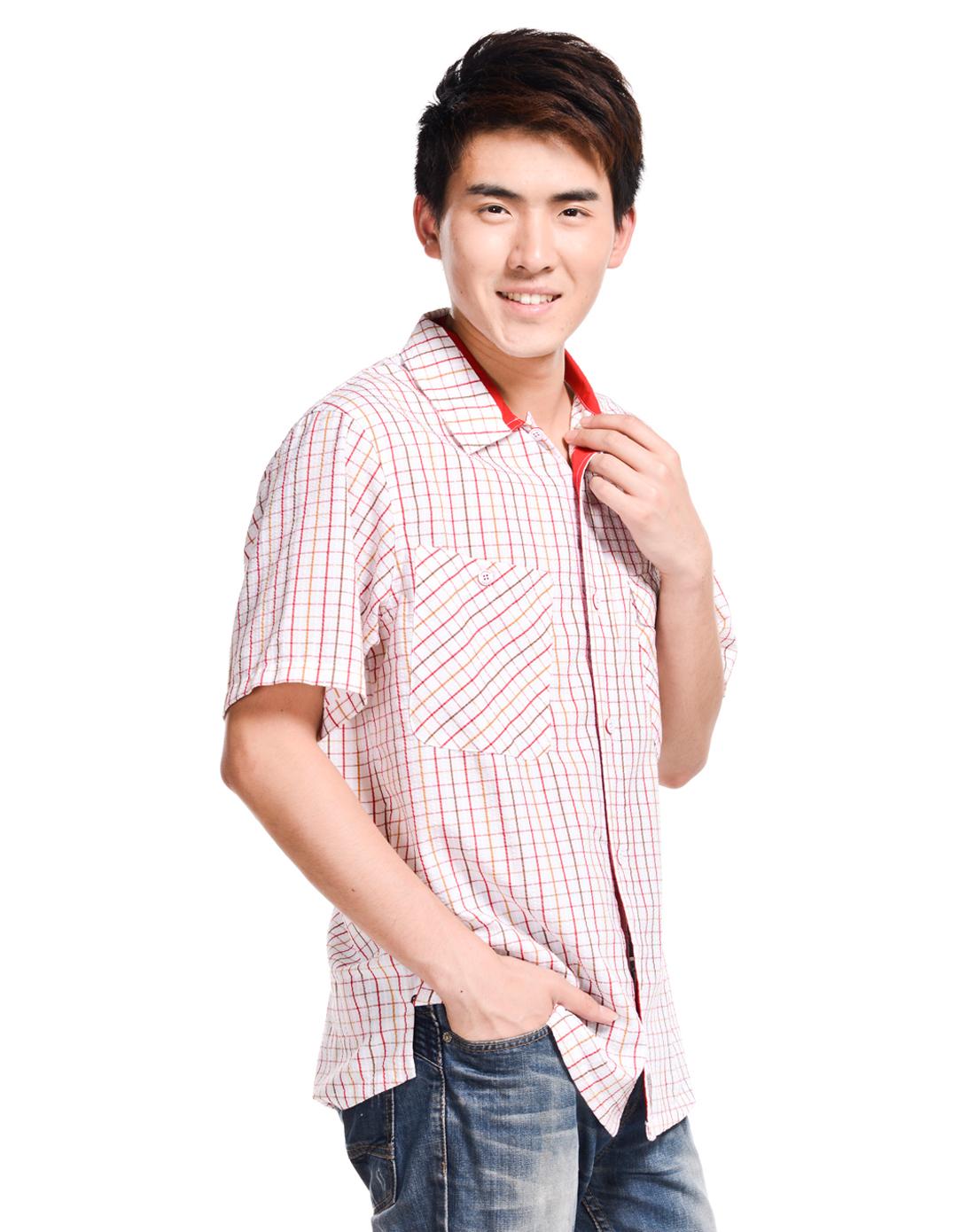 耐克nike男装专场-男子白底红条短袖衬衫