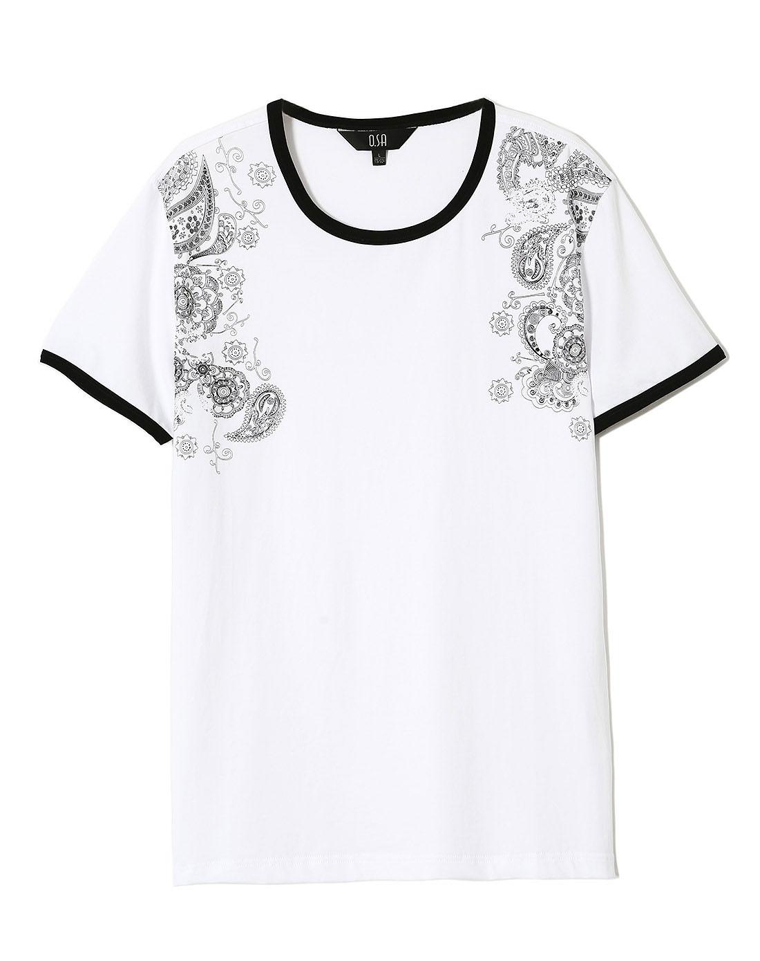 osa白色设计感图案短袖t恤