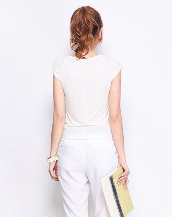 白色水墨晕染层次百搭t恤