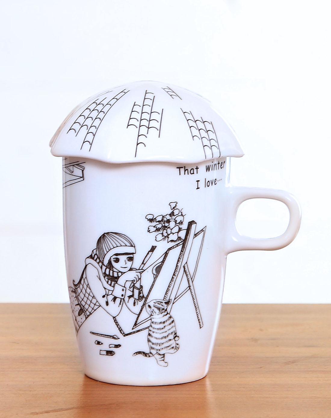 手绘漫画风陶瓷马克杯-画猫女孩