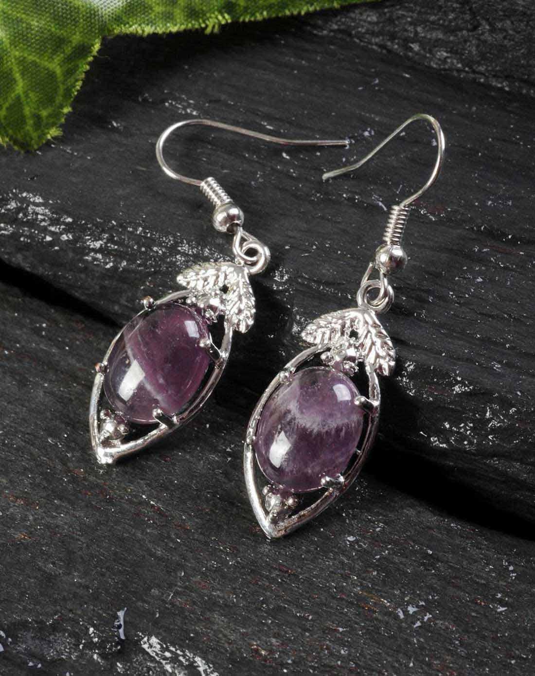 天然紫水晶树叶耳坠054028