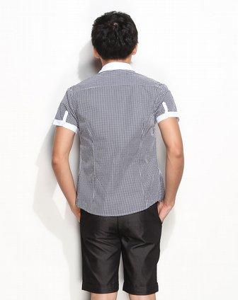 时尚细方格子黑间白色短袖衬衫