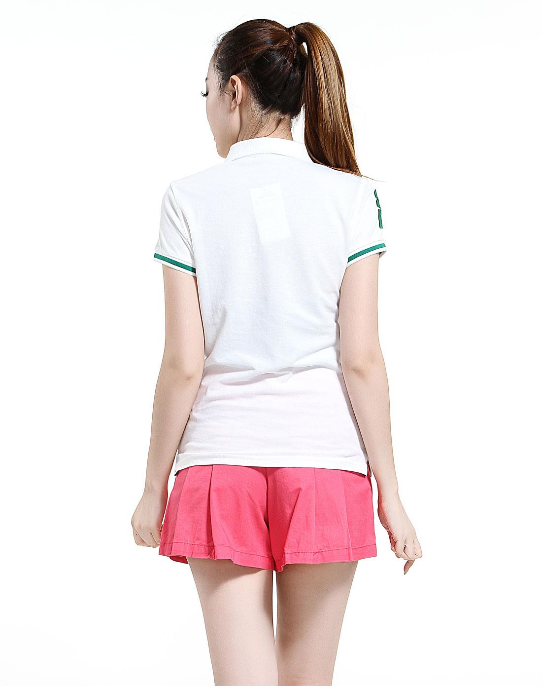 白色刺绣图案翻领短袖t恤