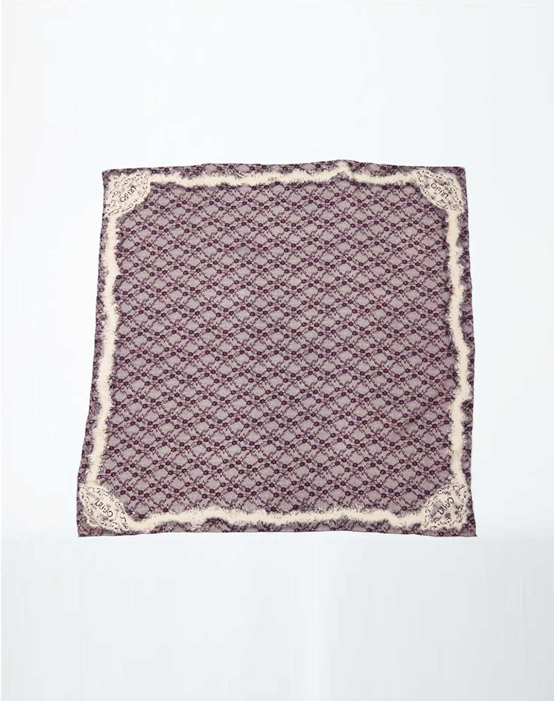 柔顺丝质蕾丝花纹图案女士丝巾