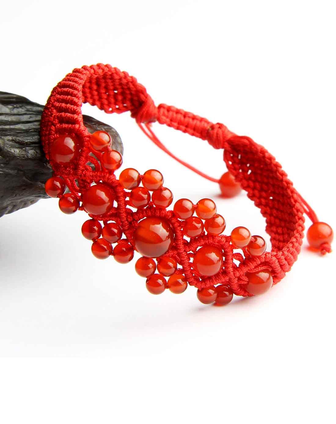 一生一石o-stone红玛瑙纯手工编绳攒珠手链(附证书)