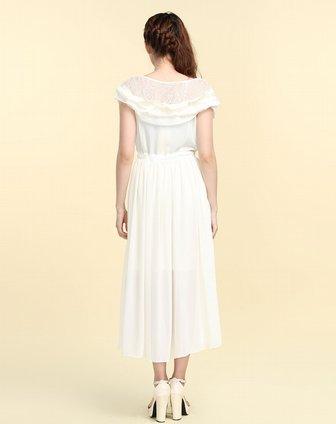 浅米白色半透皱褶短袖连衣裙