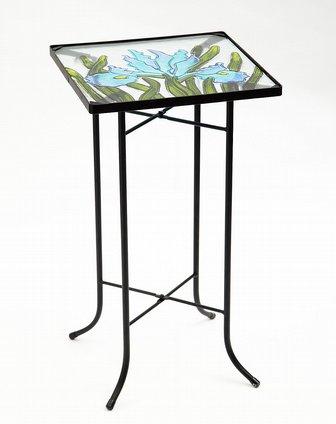 手绘热熔玻璃 铁艺装饰边桌/茶几