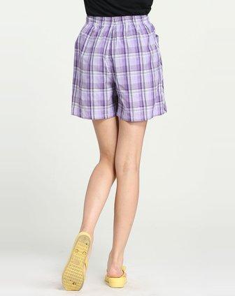 女款淡紫色格子休闲短裤