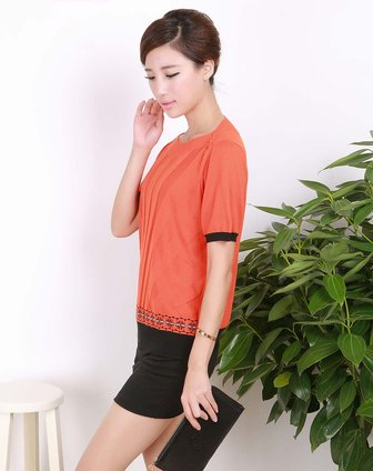 女款桔红色拼花纹气质短袖针织衫