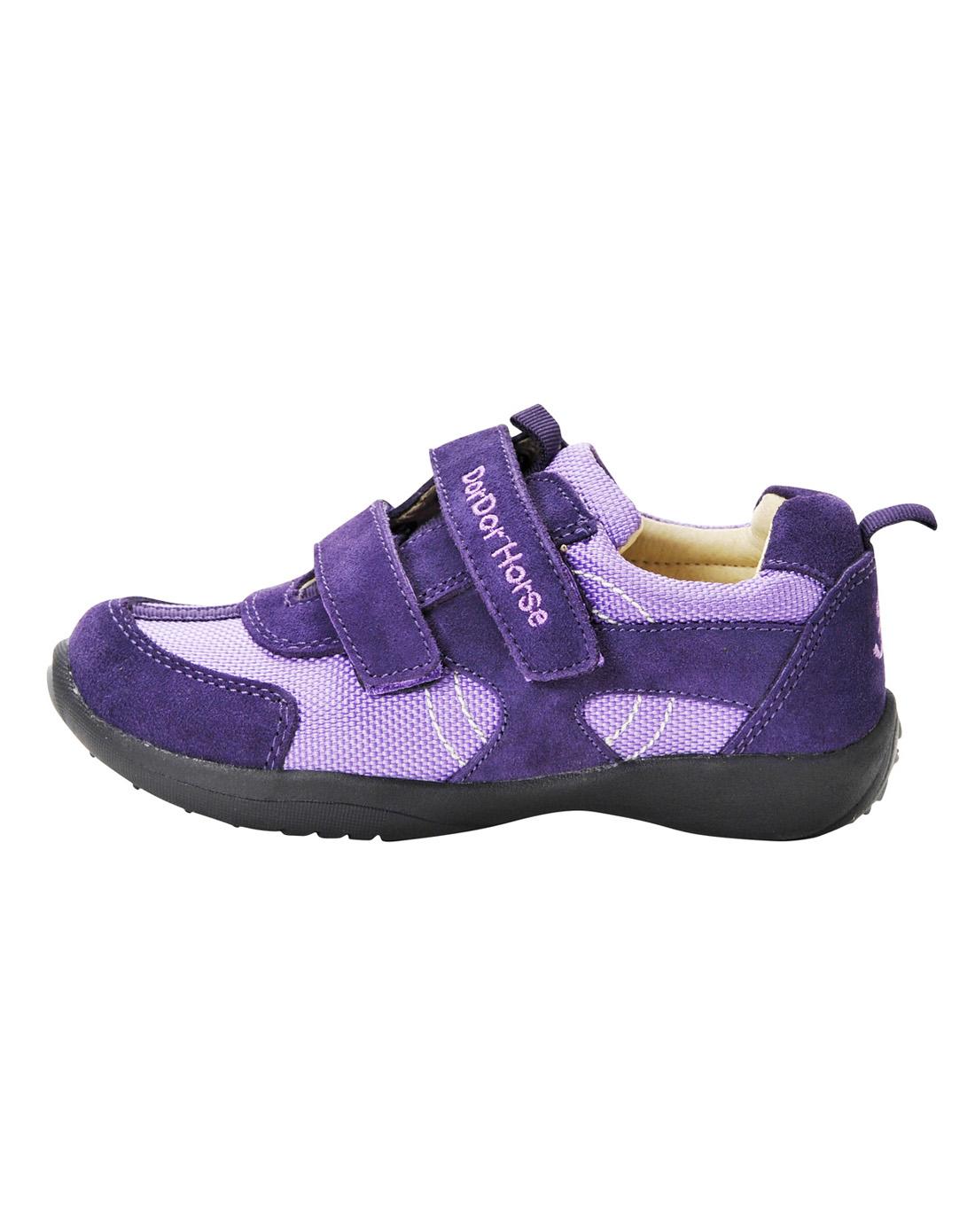 女童紫色气垫大底休闲皮鞋