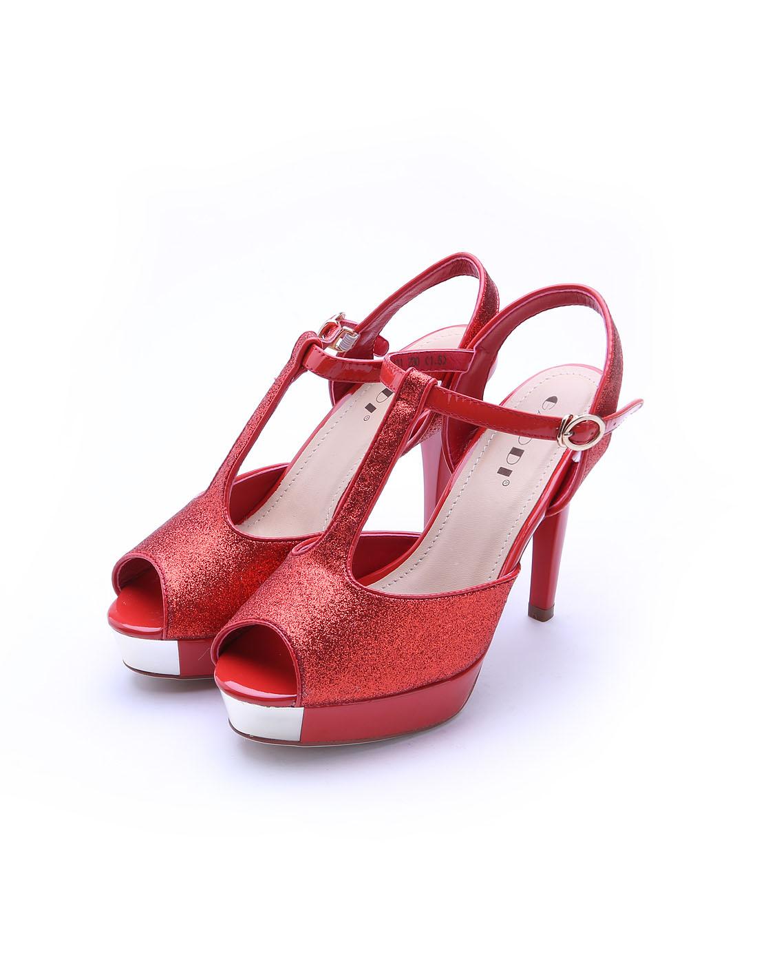 红色格利特凉鞋