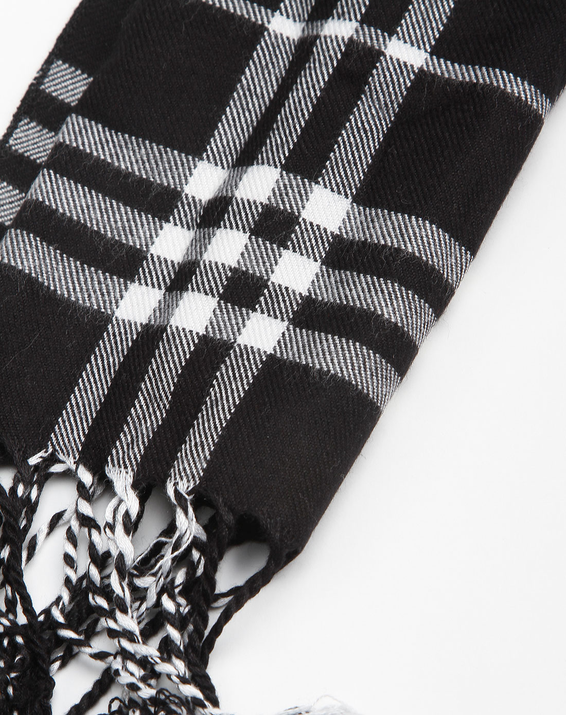 黑白格子围巾