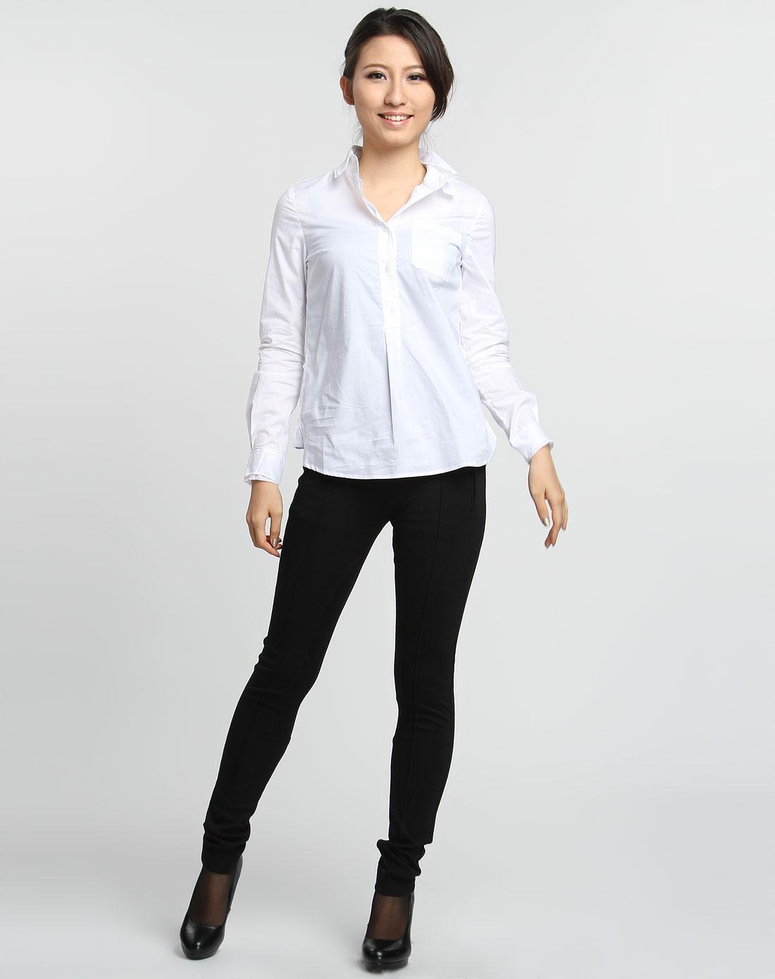女休闲�z(�:(�ybj�f_女款白色休闲长袖衬衫