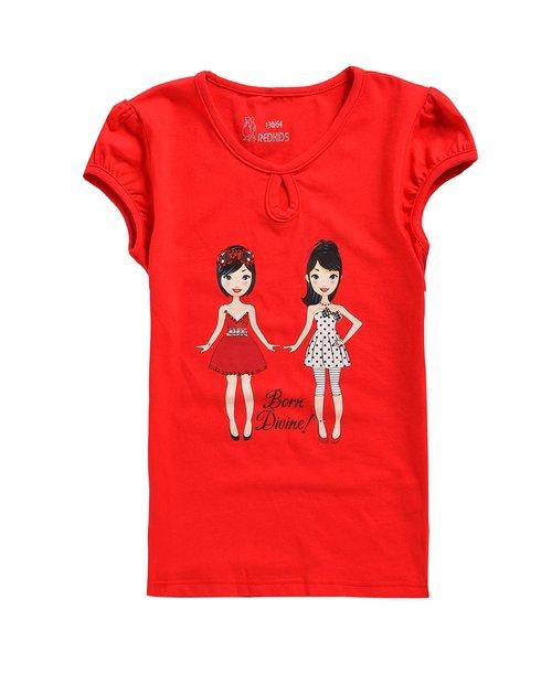 红孩儿 女童大红色圆领t恤