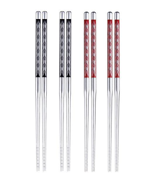 不锈钢两双装筷子2件(2色)-花纹颜色随机