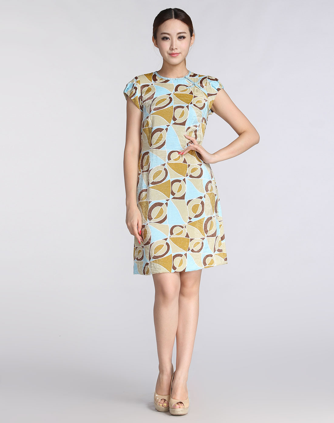 蓝/多色圆领花纹复古短袖连衣裙